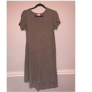 Long grey dress.